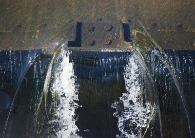 Heimbach-Wehr 1975  Stahlprofil zur Unterbrechung der Wasserwand