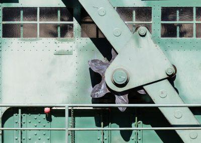 Heimbach-Wehr 1975  Zahnrad zur Steuerung der Wehrklappenöffnung