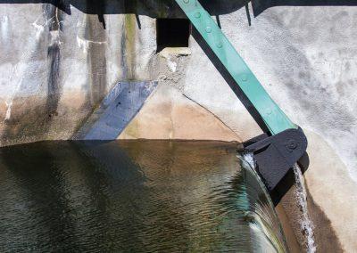 Heimbach-Wehr 1975  Wasserstandsregelung durch verstellbare Wehr